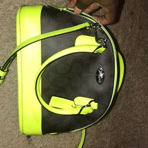 Dark brown , neon yellow, small shoulder/crossbody